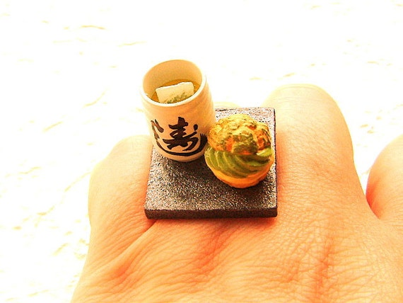 green tea ring miniature food jewelry cup of green tea and