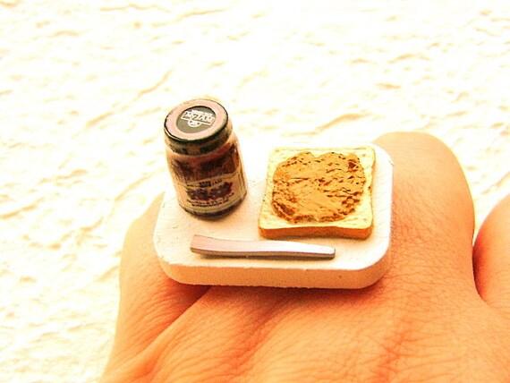 Food Ring Jam Peanut Butter Toast Miniature Food Jewelry