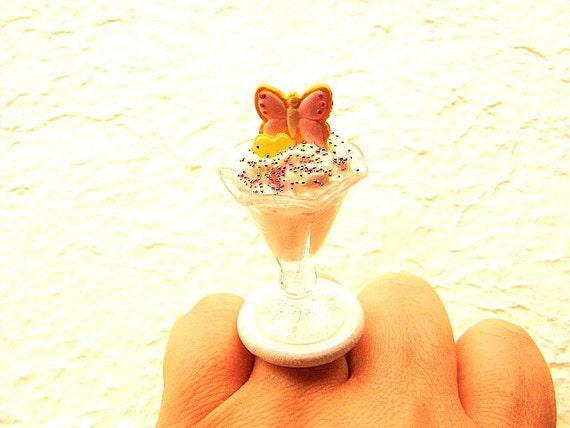 Kawaii Cute Food Ring Butterfly Candy Sundae Miniature Food