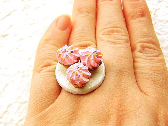 3 Pink Strawberry  Icing Cupcakes Ring