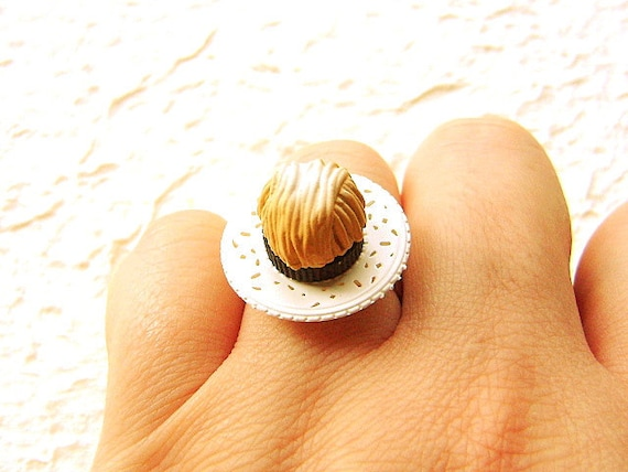 Cute Cake Ring Mont Blanc Chestnut Cream Cake Miniature Food Jewelry Gifts Under 10 SALE