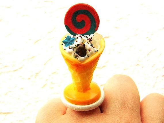 Kawaii  Ring  Miniature Food Ring Ice Cream Sundae SALE