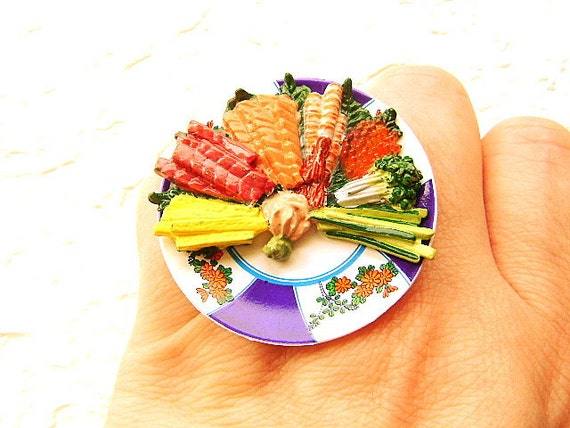 Sushi Ring Miniature Food Jewelry Hand Rolled Sushi Party  Ring