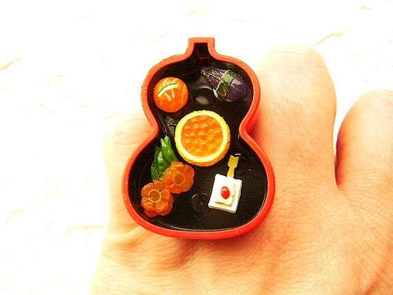 Sushi Ring Traditional Japanese Food Miniature Food Jewelry