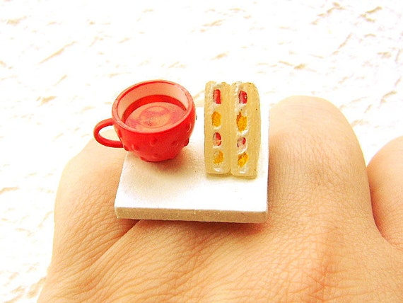 Food Ring Strawberry Tea Sandwich Miniature Food Jewelry SALE