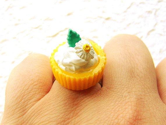 Kawaii  Ring Vanilla Ice Cream Lemon  Cup Leaf Flower Miniature Food Jewelry
