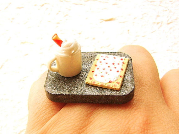 Food Ring Hot Chocolate Breakfast  Pastry Miniature Food Jewelry Gifts Under 10 SALE
