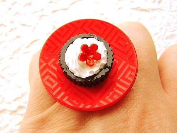 Bold  Ring Miniature Food Jewelry Chocolate Ice Cream Asian Flower