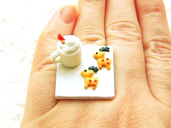 Christmas   Ring Kawaii  Hot Chocolate Reindeer Cookies Miniature Food Jewelry