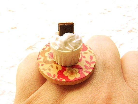 Food Ring Vanilla Pudding Chocolate Cookie Miniature Food Jewelry