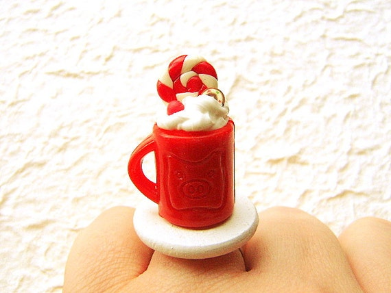 Hot Chocolate Ring  Miniature Food Jewelry SALE