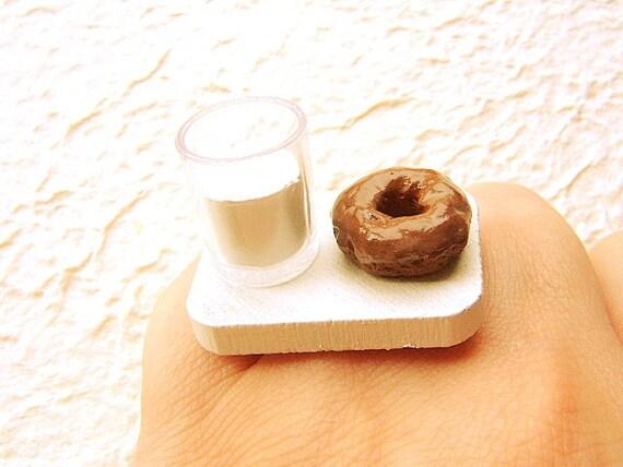 Kawaii Food Ring Chocolate Donut Milk Food Jewelry