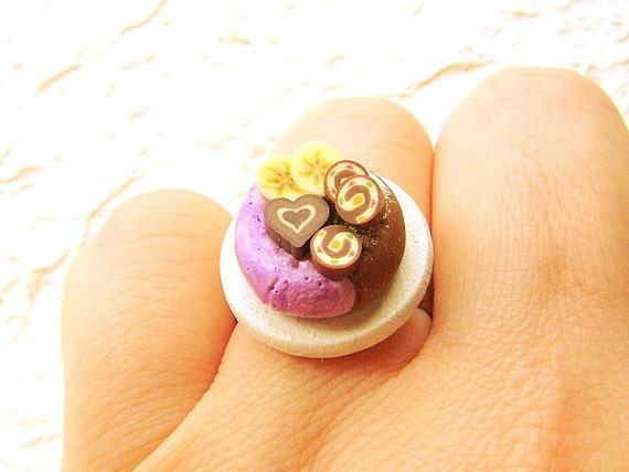 Donut Ring Chocolate Miniature Food Jewelry Gifts Under 10