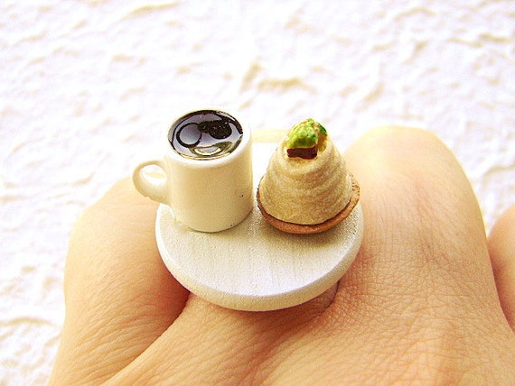 Cute Japanese Food Ring Coffee Sweet Chestnut By