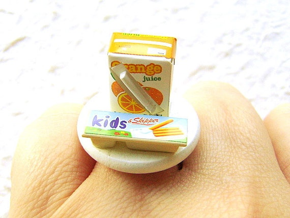 Cute Food Ring Kid Drink And Snack Miniature Food Jewelry