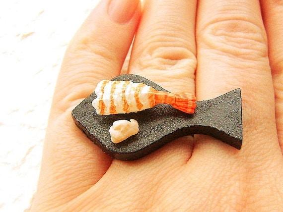 Food Ring Sushi  Shrimp Ebi Miniature Food Jewelry