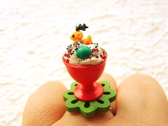 Christmas  Food Ring Kawaii  Reindeer Cookie  Candy Ice Cream