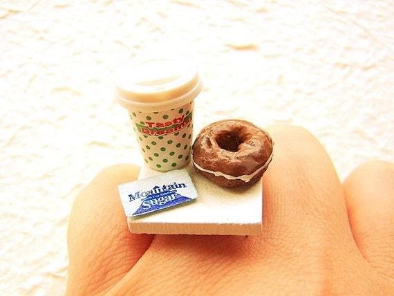 Coffee Ring Kawaii Food Jewelry Chocolate Donut