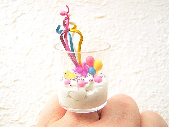 Kawaii Food Ring Vanilla Ice Cream Candy Celebration  Ring