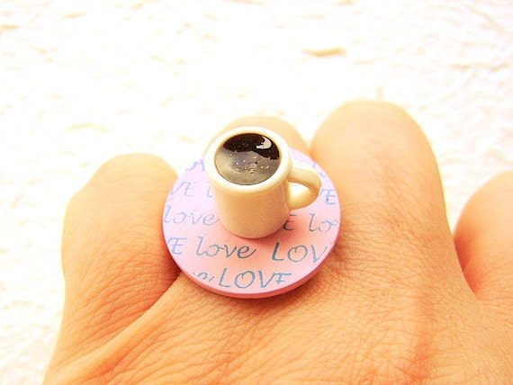 Kawaii Coffee Ring Coffee Lover Miniature Food Jewelry