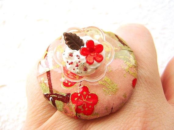 Food Ring Vanilla Ice Cream Chiyogami Paper Miniature Food Jewelry SA;E