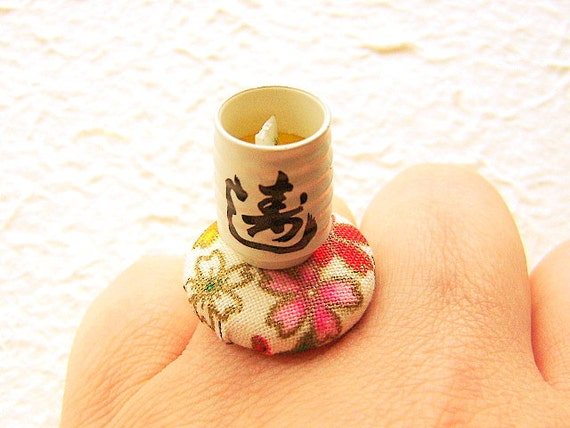 Green Tea Ring Miniature Japanese Food Ring Cherry Blossom Gifts Under 10