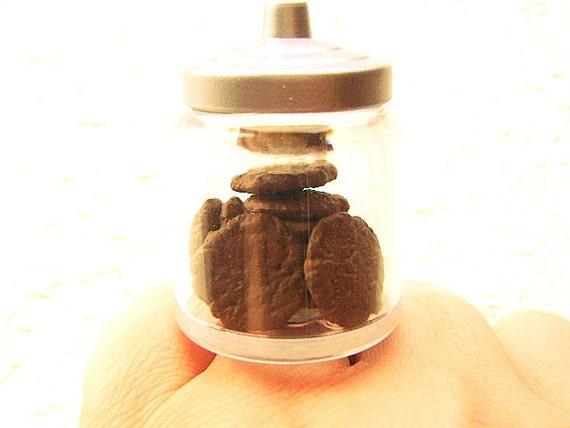 Miniature Food Ring Chocolate Cookies Kawaii Food Jewelry