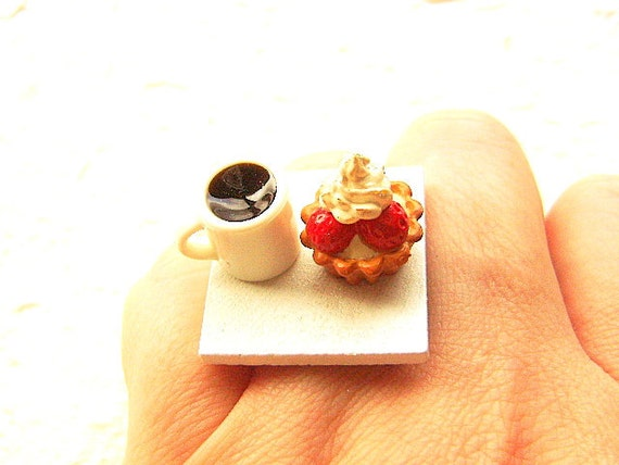 Coffee Ring Strawberry Tart Miniature Food  Jewelry