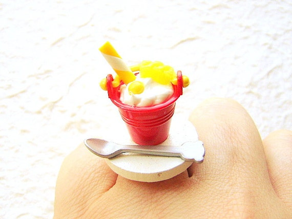 Kawaii Food Ring Ice Cream Sundae Miniature Food Jewelry SALE