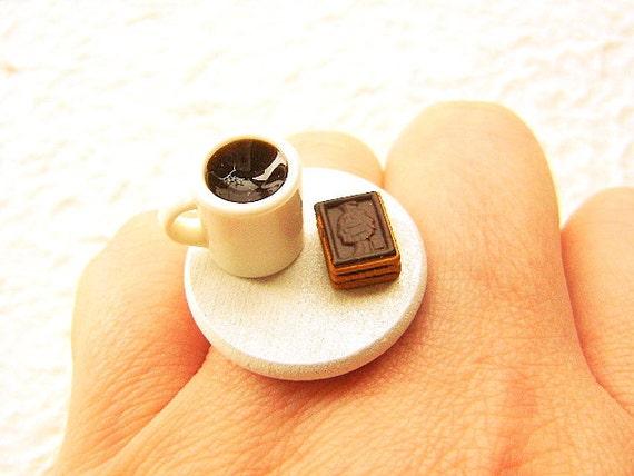 Miniature Food Ring Coffee And Chocolate Cookies Food Jewelry SALE