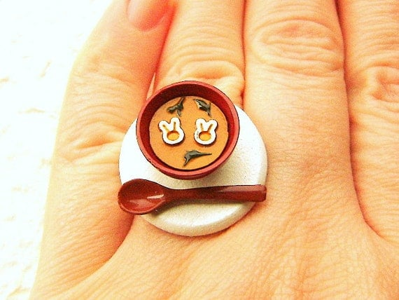 Japanese Food Ring Miniature Food Jewelry Miso Soup