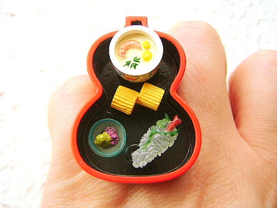 Traditional Japanese Food Sushi Ring  Miniature Food Jewelry