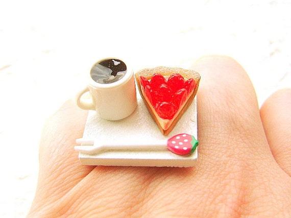 Coffee  Ring  Kawaii Strawberry Pie Miniature Food Jewelry CIJ Christmas in July