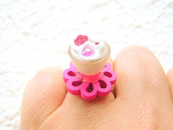 Cute Food Ring Ice Cream Miniature Food Jewelry Pink Flower SALE