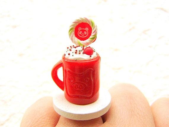 Kawaii Ring Ice Cream Sundae Bear Lollipop Miniature Food Jewelry SALE