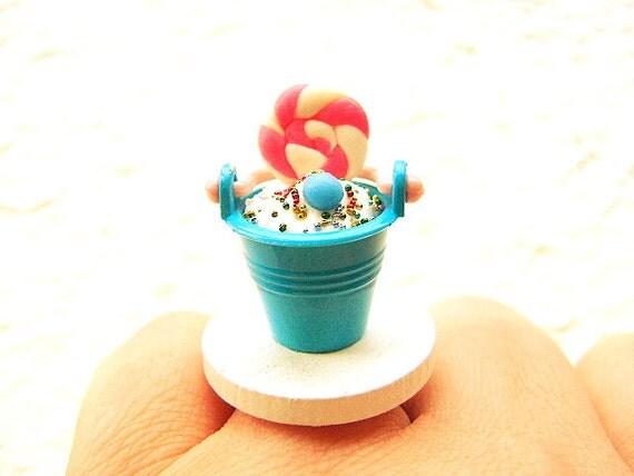 Cute  Food Ring Ice Cream Sundae Miniature Food Jewelry SALE