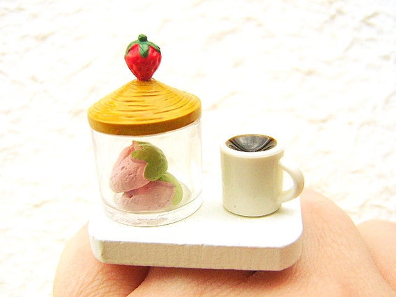 Coffee Ring  Miniature Food Jewelry Strawberrry Cookies