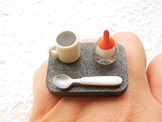 Coffee Ring Miniature Food Kawaii Jewelry Coffee And Sugar SALE