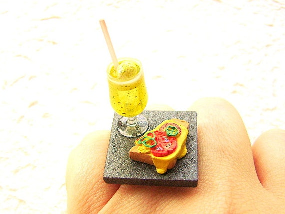 Kawaii Food Ring Pizza Toast Soda Float  Miniature Food Jewelry Gifts Under 10 SALE