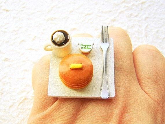 Miniature Food Ring Coffee Pancakes Cute Food By