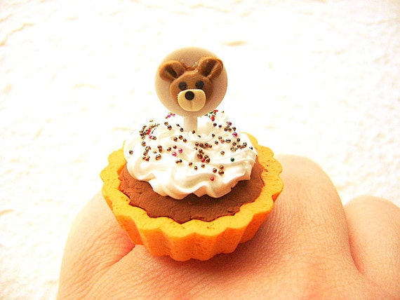 Cute Food Ring Miniature Food Jewelry Chocolate Pie