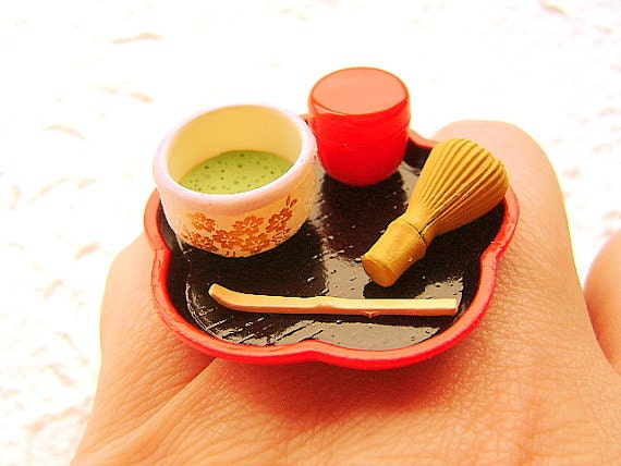Traditional Japanese Food Ring Matcha Tea Ceremony  Miniature Food Jewelry