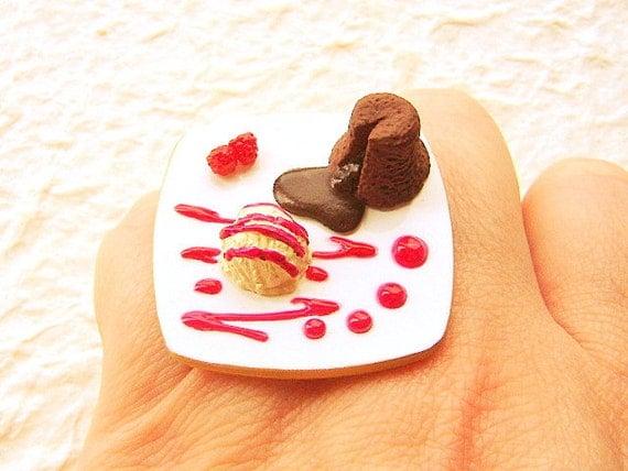 Kawaii Food Ring Chocolate Cake Ice Cream Raspberry Miniature Food Jewelry
