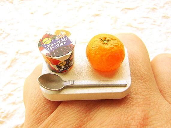 Kawaii Ring Miniature Food Jewelry Fruit Yogurt Orange SALE
