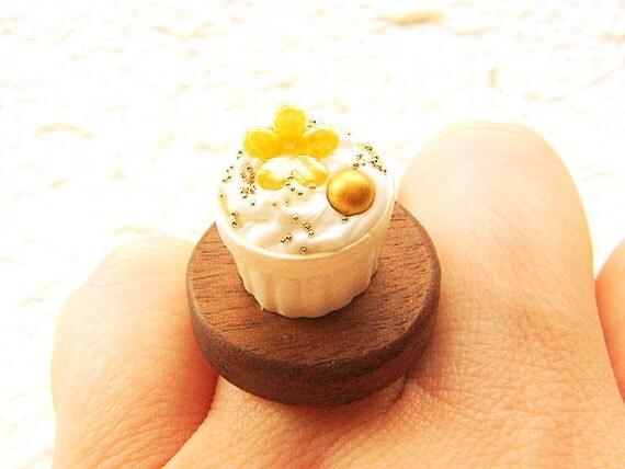 Miniature Food Ring Elegant Dessert Food Jewerly