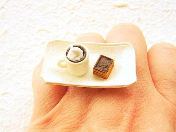 Kawaii Food Ring Coffee Cookies  Miniature Food Jewelry