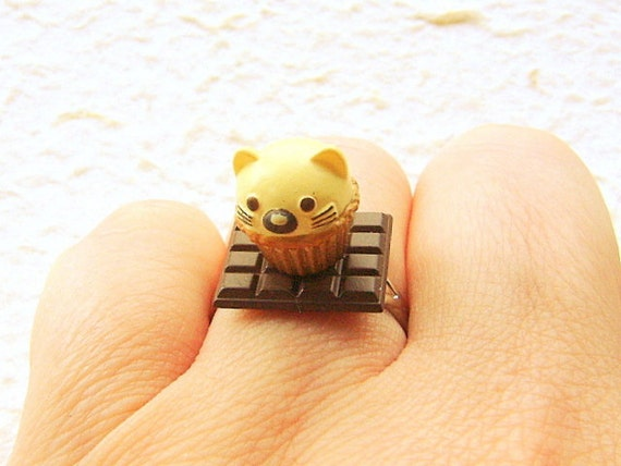 Kawaii  Ring Cat Cupcake Chocolate  Miniature Food Jewelry Gifts Under 10