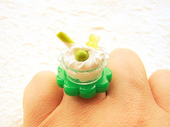 Kawaii Food Ring Ice Cream Sundae  Candy Miniature Food Jewelry SALE