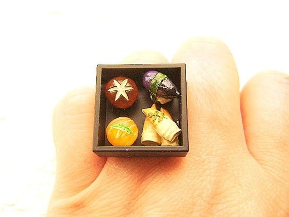 Traditional Japanese Food Ring Sushi  Miniature Food Jewelry