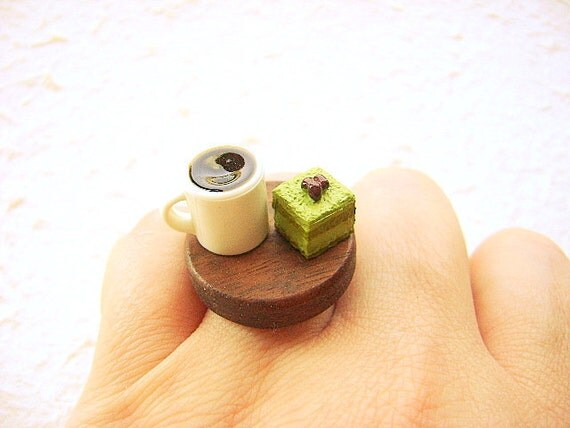 Miniature Food Ring Coffee And Green Tea Cake Miniature Food Jewelry